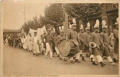 China, Chinese Funeral (The Band & Chief Mourner) Early Postcard