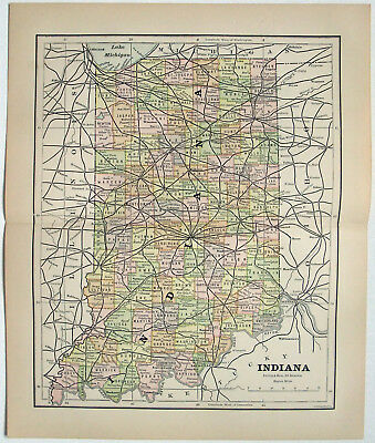 Original 1882 Map of Indiana by Phillips & Hunt