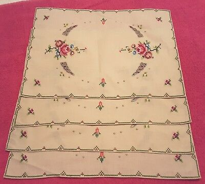Vintage needlepoint linen placemats set of 4