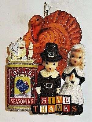 PILGRIMS, TURKEY, GIVE THANKS * Glittered WOOD THANKSGIVING ORNAMENT * Vtg Img