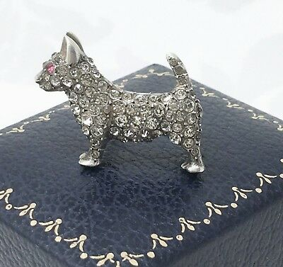 Antique STERLING SILVER Amethyst Paste Terrier Dog Brooch Small Thick Solid