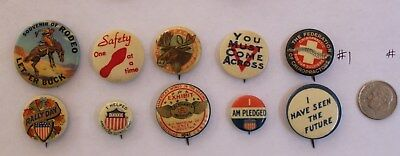 Lot Of 10 Celluloid Pinback Buttons Average Vg Mixed Lot Rodeo Moose Rally Day