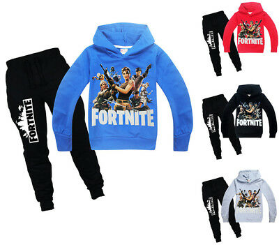 Tops + Pants Fortnite Kids Hoodie Sweatshirt Long Pants Sports Tracksuit Set