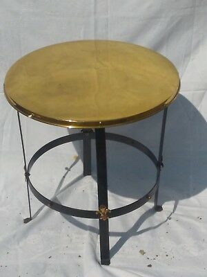 Vintage French Gothic Style Occasional Coffee Table Wrought Iron with Brass Top