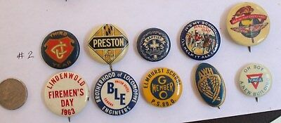 Lot Of 10 Celluloid Pinback Buttons Average Vg Mixed Lot Advertising, Groups