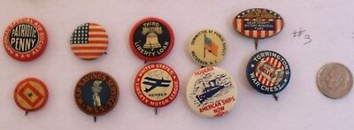 Lot Of 10 Celluloid Pinback Buttons Average Vg Mixed Lot Patriotic War Bonds