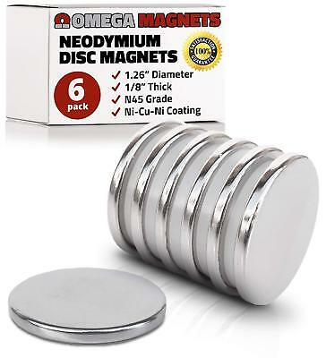 Strong Neodymium Disc Magnets 6 Pack - 2X Stronger, 2X Thicker, Powerful, Small,