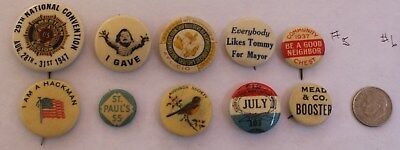 Lot Of 10 Celluloid Pinback Buttons Average Vg Mixed Lot American Leg, Political