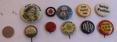 Lot Of 10 Celluloid Pinback Buttons Average Vg Mixed Lot Santa Union Birthday