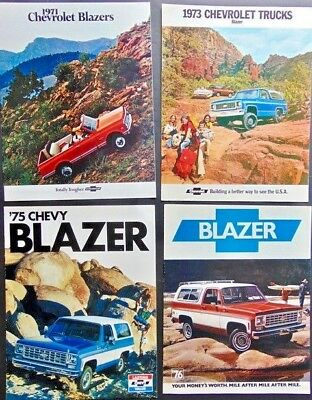 Lot of 4 1970s ORIGINAL Chevrolet Blazer Dealership Brochures (71, 73, 75, 76)
