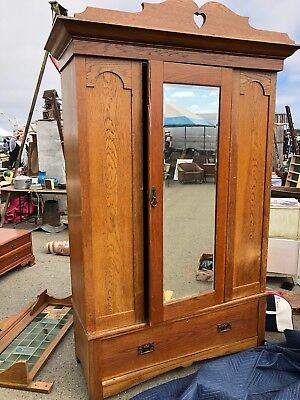 Antique Quarter Sawn Oak Wardrobe Armoire And Matching Vanity
