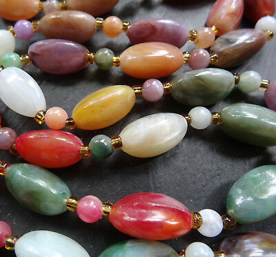 vintage multi colour lucite agate & amber glass bead necklace 1970s -R154