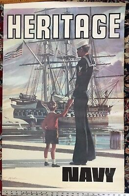"1973 U.S. Navy ""Heritage"" Recruiting Poster w/ USS Constitution / Not a Reprint"