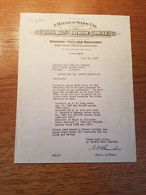 A Magnus Sons Co. Dealers in Hops, Malt and Brewers supplies letter to Peoria Il