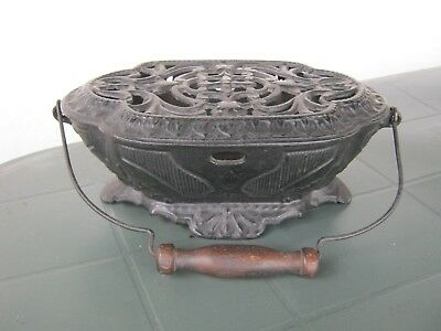 Antique French Cast Iron Burner Carriage Foot Warmer Black