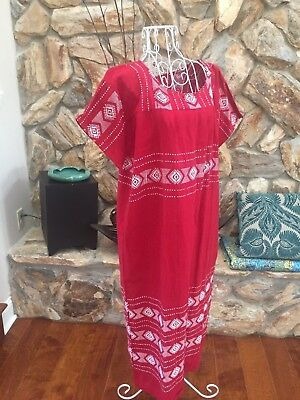 Vtg Embroidered Mexican Dress Large Red Maxi Oaxacan Boho Peasant Wedding