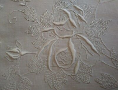 "Exquisite Appenzell or Madeira Embroidered Rose Design Table Topper 22"" by 15"""