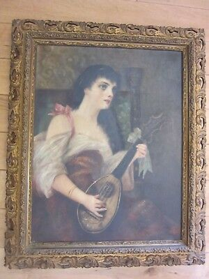 Antique 19th Century OilPainting Canvas  Lady playing Mandolin, Minnie Sisenvine