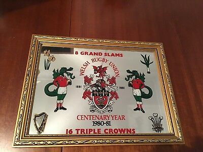 Welsh Rugby Memrobilia, Centenary Year 1980-81, mirror, picture.