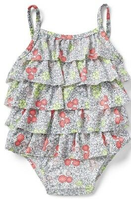 Nwt Baby Gap Baby Girl 1 Piece Floral Ruffle Swimsuit Bathing Suit 18-24 Months