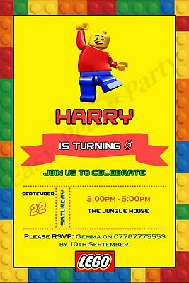 Lego Movie Bricks Personalised Party Invitations With Envelopes
