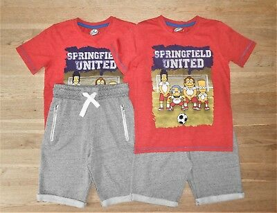 Twin Boys The Simpsons Cotton Rich T-Shirt & Shorts 6-7 Years V. Good Condition