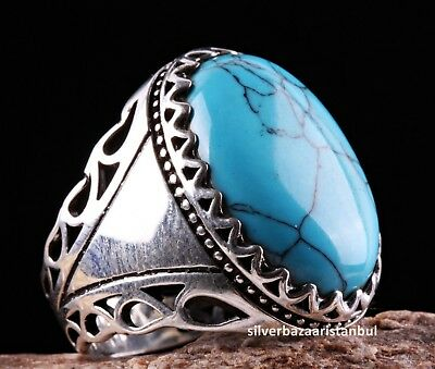 HEAVY Turkish Turquoise Stone 925 Sterling Silver Mens Mans Ring US ALL SİZE