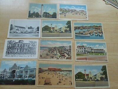 11 Early CAPE MAY NJ Postcards - BUILDING - CHURCH - PARK - BEACH - HOTEL - ETC