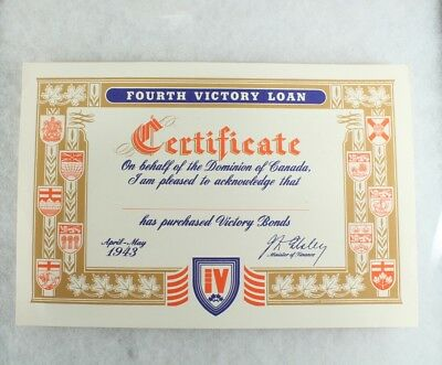 1943 Victory Loan Certificate Dominion of Canada/Bonds/ Mint
