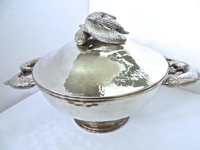 Magnificent Franco Lapini Large Silver-plate Centerpiece Fish Decorated Tureen