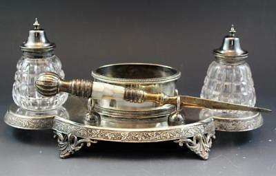 C1890s English Sheffield Silver Plate & Cut Crystal Double Inkwell Letter Opener