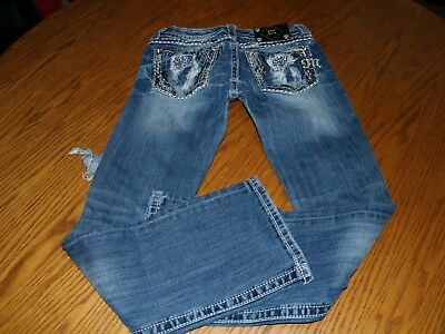WOMENS~MISS ME~JEANS~READ 27~SEXY~STRETCH~BLUE~BOOT~27x30~TOTALLY DISTRESSED