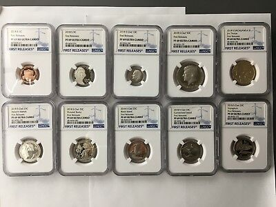 2018 S Complete 10 Pc Proof Set All NGC PF69 Ultra Cameo First Release
