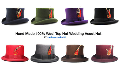 Quality Hand Made 100% Wool Top Hat Wedding Ascot Hat Eight Colours!! Free Brush