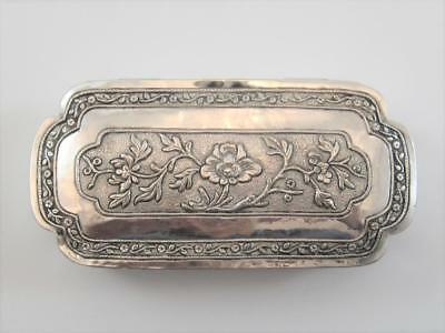 19C Sterling Silver Dresser Jewel Stamp Box Floral Repousse German Continental