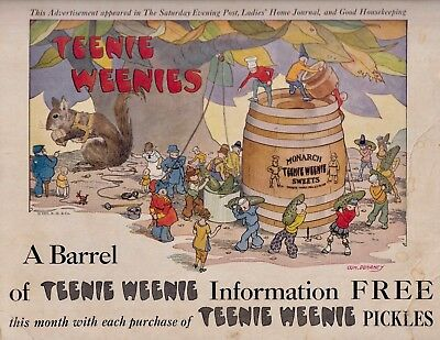 MONARCH Ad 1926 - A BARREL OF TEENIE WEENIE INFORMATION - FREE WITH PICKLES