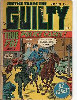 Justice Traps The Guilty Comic 11 aug/sept 1949 simon and kirby cvr low grade