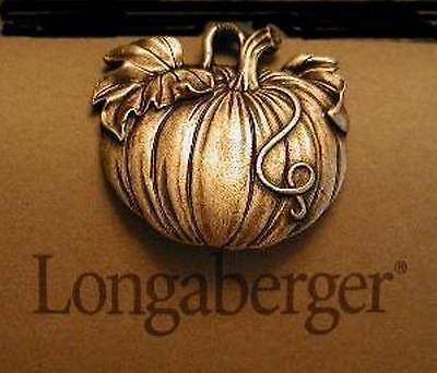 Longaberger Rare Bronze Pewter PUMPKIN Tie-On  -  Beautiful detail - New in Box!