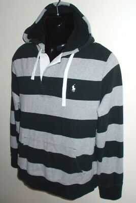 Men's Polo Ralph Lauren Striped Thermal Lined Hood Pullover Hoodie-Size L