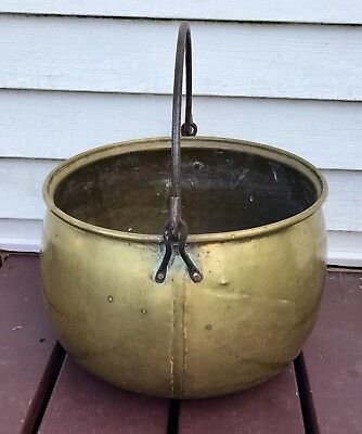 Antique Large Primitive Brass Hanging Pot Cast Iron Handle Jam Cauldron