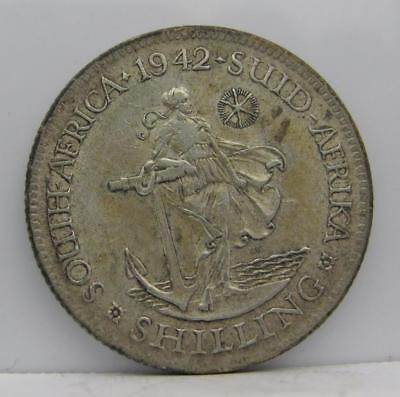 South Africa 1942 Silver Shilling! Almost Unc! Km# 28! Really Old Type Coin!