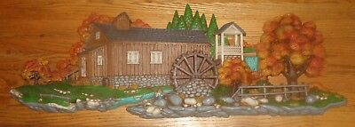 """1980 Burwood Products Over 40"""" Long Covered Bridge Horse & Buggy Wall Hanging"""