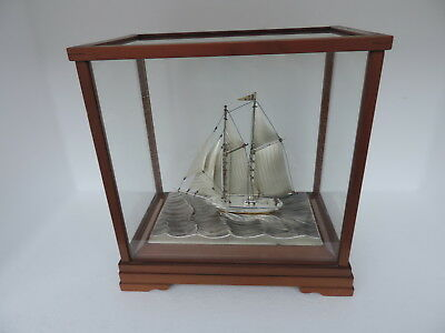 Finest Signed Japanese Two Masted Sterling Silver 980 Model Ship By Seki Japan