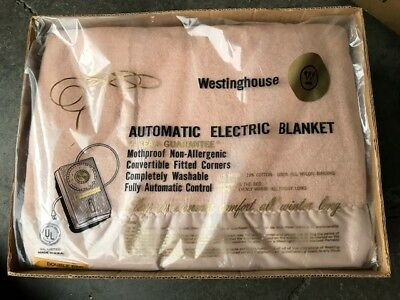 Vintage Electric Blanket Westinghouse Antique NEW IN BOX still SEALED IN PLASTIC