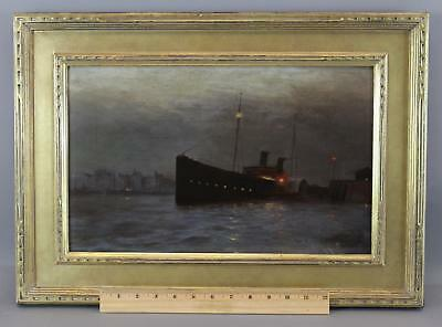Antique Signed Impressionist Nocturnal Luminist Steamship Maritime Oil Painting
