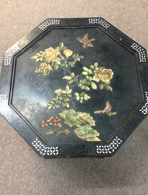Vtg Oriental Chinese Furniture Black foldable tea table garden Landscape