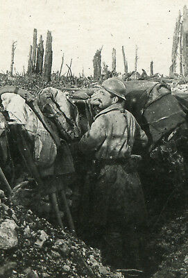 RPPC Photo of French Soldier in a Trench Beside No Man's Land
