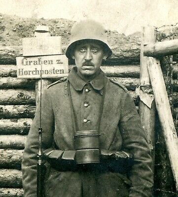 RPPC Photo of Demoralized-Looking German Soldier ~ Listening Post Trench Sign