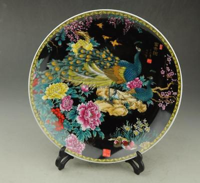 Chinese old hand-made  porcelain famille rose peacock patterns plate b01