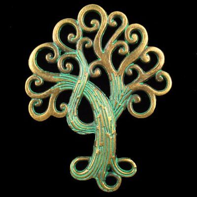 Y40404 Carved Carved Brass Bronze Tree Pendant Bead 74x57x2mm